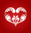 Heart ornament on red background vector image