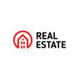 home linear logo smart house line art red vector image