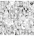 Seamless pattern from crowd of people with vector image