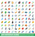 100 statistics icons set isometric 3d style vector image