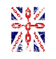 British flag t shirt typography graphics chain vector image