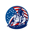 Rodeo cowboy horse cutting stars and stripes vector image