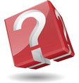 3D cube with question mark symbol vector image vector image