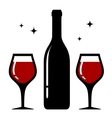 isolated bottle and wine glasses icon vector image vector image