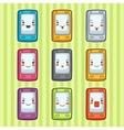 Kawaii doodle mobile phones set of vector image