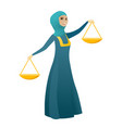 muslim business woman holding balance scale vector image