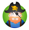 round sticker with the image of a fun pirate in a vector image