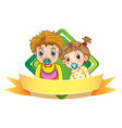 Label design wtih two babies vector image