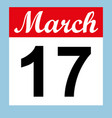 march 17 st patrick s day on a calendar vector image