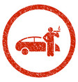 smoking taxi driver rounded grainy icon vector image
