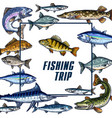 poster template for fishing trip sketch vector image vector image