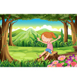 A playful child sitting above the stump at the vector image vector image