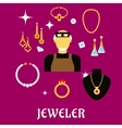 Jeweler or goldsmith with jewelries flat style vector image