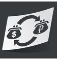 Monochrome dollar ruble exchange sticker vector image
