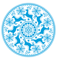 Christmas winter round blue pattern vector image