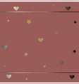cute frame with hearts in gold vector image