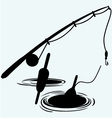 Fishing rod and float in water vector image