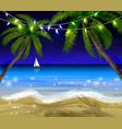 palm trees at night vector image