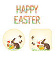 buttons happy easter bunny and basket vector image