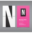 business card letter N vector image
