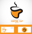 Orange coffee cup logo vector image