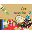 Art supplies for school or college vector image