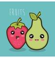 cartoon strawberry pear emotions design vector image