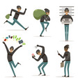 different actions scenes with cartoon bandit vector image