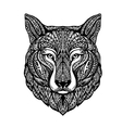 Hand drawn head wolf Ethnic patterns Dog husky vector image
