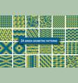 set of twenty four green color geometric patterns vector image