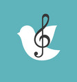 treble clef with bird vector image