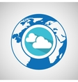 weather forecast globe cloud with shadow icon vector image