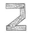 wooden number 2 engraving vector image