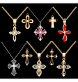 set gold and silver cross pendant vector image vector image