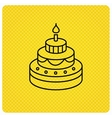 Cake icon Birthday delicious dessert sign vector image