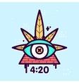 All seeing eye cannabis leaf triangle vector image