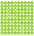 100 windmills icons set green circle vector image