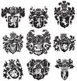 set of heraldic silhouettes No3 vector image vector image