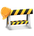 Under Construction Barrier with Helmet vector image