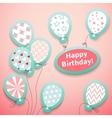 Happy birthday retro postcard with pattern vector image