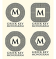 Greek Key Ornament Monogram Set vector image