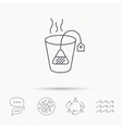 Tea bag icon Natural hot drink sign vector image