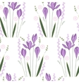 Seamless pattern with stylized cute crocuses vector image