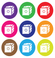 dice icon color set vector image