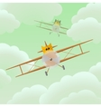 flat cat pilot in airplane vector image