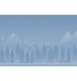 Forest montains on a snowy blue background vector image