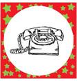 vintage retro telephone sketch vector image