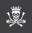 vinyl is king record dj logo vector image