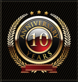 10 years anniversary golden label vector image