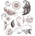 Set of Ornamental Boho Style elements vector image vector image
